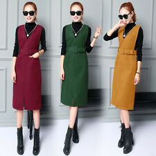 new Autumn winter Korean fashion Elegant shitsuke woolen two-piece straps skirt