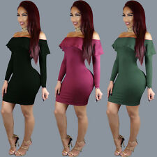 Women Sexy Boat Neck Ruffled Clubwear Cocktail Party Bodycon Micro Mini Dress