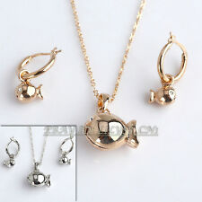 A1-S145 Fashion CZ Lovely Filsh Earrings Necklace Jewelry Set 18KGP Crystal