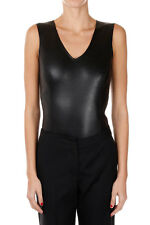 MAISON MARTIN MARGIELA MM4 New Woman Black Body top Leather Made in Italy NWT