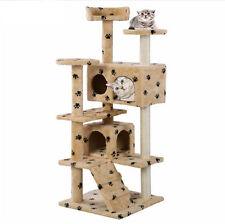Cat Tree Post Furniture Condo House Pet Play Tower Scratch Post Beige Kitty Gray