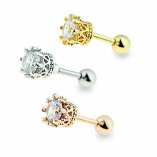 Crown CZ Ear Cartilage Cuff Helix Tragus Earring Barbell 16G Rose Gold Gold IP