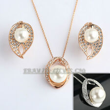 Fashion White Pearl Earrings Necklace Jewelry Set 18KGP Crystal Rhinestone