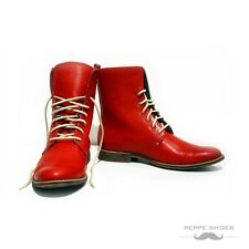 Modello Vomero - Handmade Colorful Italian Leather Shoes High Boots Red