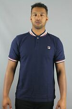 FILA Vintage Skipper FW16VGM009 Mens Peacoat Blue Baseball Collar Polo Shirt
