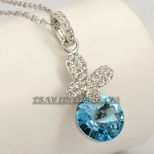 Rhinestone Butterfly Simulated Sapphire Necklace Pendant 18KGP CZ Crystal