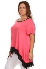 New Women's Plus Size Hi Low Coral Black Top (Blouse) In Size 2X  (MADE IN USA)
