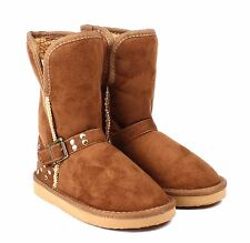 Brown Baby Infant / Kids / Toddler Girls Shoes Snow Mid Calf Boots Size 5 - 10