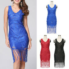 Women Sexy Lace Tassel Fringe Flapper Bodycon Evening Party Cocktail Mini Dress