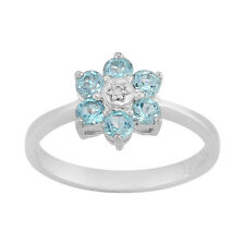 925 Sterling Silver 0.78ct Natural Blue Topaz & Diamond Cluster Style Ring