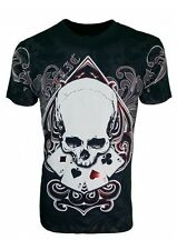 KONFLIC GRAPHIC T-SHIRT Ace of Spades Skull T-Shirt { Black } RED Foil Trim MMA