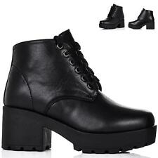 NEW WOMENS BLOCK CHUNKY HEEL LACE UP PLATFORM ANKLE BOOTS AUS 5-10