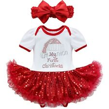 Infant Baby Girls My First Christmas Outfit Tutu Romper Bodysuit Dress Costume
