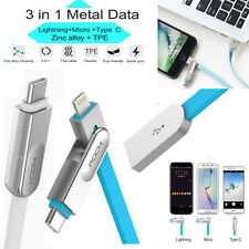 Universal 3 IN 1 Lightning+Micro USB+Type-C Charging Sync Data Cable iPhone HTC