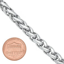 7mm Mens White Gold Silver Plated/Layered/Plated Wheat Link Basket Rope Chain