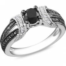 1 Carat T.W. Black and White Diamond Sterling Silver Fashion Ring. Free Delivery