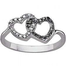 Black and White Round Diamond Accent Sterling Silver Interlocking Hearts Ring. D