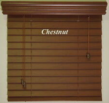 """2""""  Faux Wood  Blinds ~ Size ~ 17"""" W x 48"""" L ~ Stain Colors ~ Real Grain Look"""