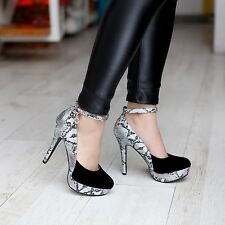Womens Charming Stiletto Platform Ankle Strap Party Pump Shoes High Heel Fashion