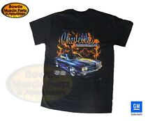68 69 70 71 72 CHEVY CHEVELLE SS FLAME T-SHIRT BLACK TEE SHIRT GM LICENSED 1970