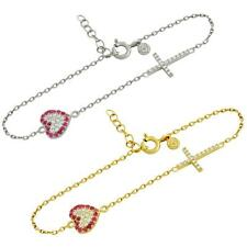 """.925 Sterling Silver Cubic Zirconia Chain Bracelet 6.5""""+1"""" Pave Cross with Heart"""