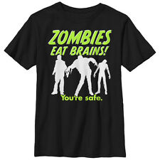 Lost Gods Halloween Zombies Eat Brains Silhouette Boys Graphic T Shirt