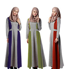 TT Muslim Women Long-sleeve Maxi Dress Kaftan Abaya Islamic Arab Lady Robe Gown