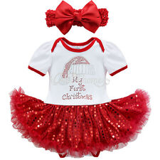 Newborn Baby Girls My First Christmas Fancy Tutu Romper Dress Up Outfit Clothing
