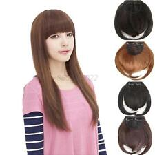 Girl Women Natural Clip on Front Neat Bang Fringe Hair Extensions Short Cut T48