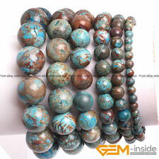 Handmade Blue Crazy Lace Agate Beaded Stretchy Stone Energy Healing Bracelet 7""
