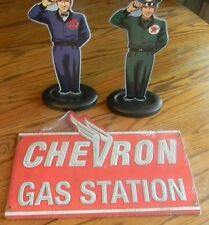 "Lot of 3 (1)Gulf & (1)Texaco Gas ""Service Guy"" Metal Stand & Chevron Gas Statio"