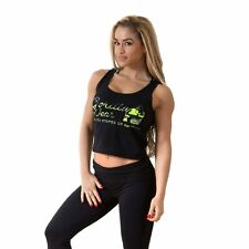 Gorilla Wear Womens Oakland Crop Tank Black/Neon Lime Camoflauge