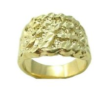 New 24KT Gold Plated Mens Nugget Ring - Sizes 7-14 Lifetime Warranty