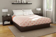 Platform Bed Frame Full Queen King Sizes Chocolate Color Bedroom South Shore