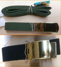 Military Web Belt Black & OD with Brass Buckle