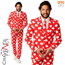 Mens Mr Lover Opposuit Valentines Heart Suit Stag Do Fancy Dress Party New