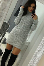Ladies Womens Cable Knitted Polo Roll Neck Jumper Long Sleeve Stretch Dress