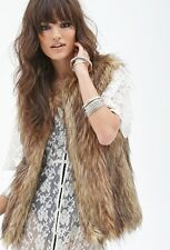 Womens Faux Raccoon Fur Shaggy Vest Coat Brown Furry Jacket Outwear waistcoat