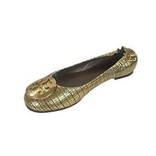 NEW Tory Burch Reva Mirror Metallic Leather Metal Logo Ballet Flats Shoes