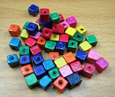 FREE Wholesale Lots Wood Mixed color Spacer Material Square Findings Beads 5X5mm