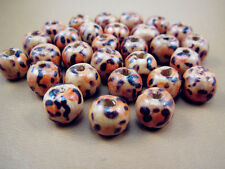Free Lot Jewelry Design Round Wood leopard print Charms Spacer Loose beads 8mm