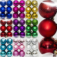 12 Christmas 6cm Glitter Metallic Hanging Baubles Tree Ornaments Decorations