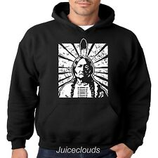 Native American Hoodie Sitting Bull Indian Chief Feathers Tribe Pull Over