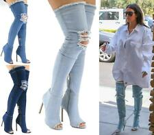 WOMEN OVER THE KNEE THIGH HIGH BLUE DENIM FABRIC HIGH HEEL BOOTS SHOES SIZE 3-8