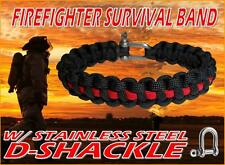 Firefighter 550 Paracord Survival Bracelet Band w/ Metal SS D Shackle Clasp
