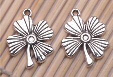80 PCS Tibetan silver Crafts Four-Leaf Clover DIY Jewelry Making Charms Pendants