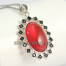 Fashion Red Simulated Agate Pendant Necklace 18KGP Rhinestone Crystal