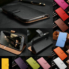 Genuine Real Leather Flip Stand Card Slot Cover Wallet Phone Case For HTC Series