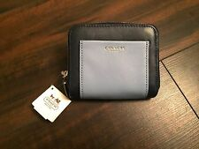 Coach Navy Blue Leather Zip Around Wallet New Retail $168