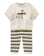NWT Gymboree Boys FOREST SPROUTS Sz 6 12 18 24 M Moose Striped Sweater Set NEW